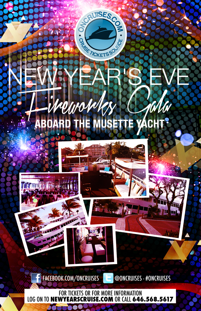 New Years Eve Fireworks Gala aboard the Musette Yacht