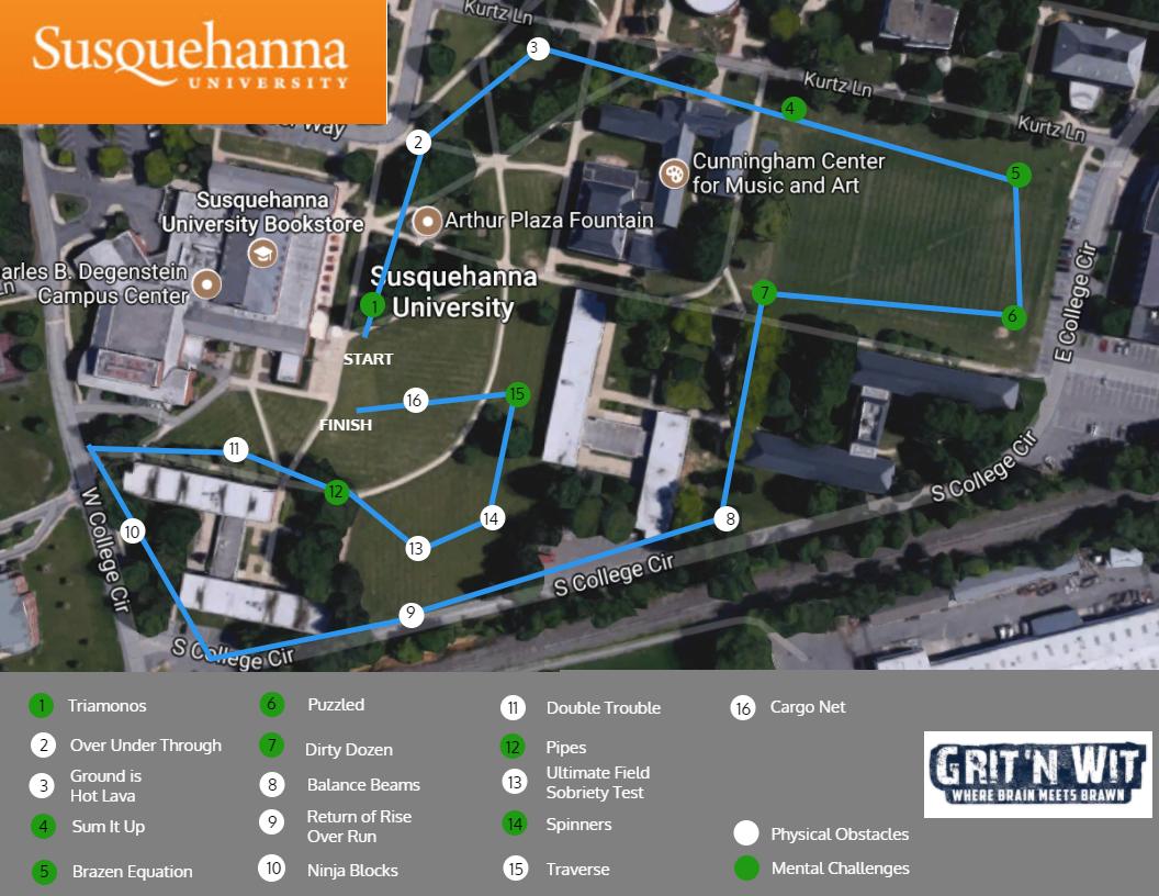 Susquehanna Campus Map.Susquehanna University Grit N Wit