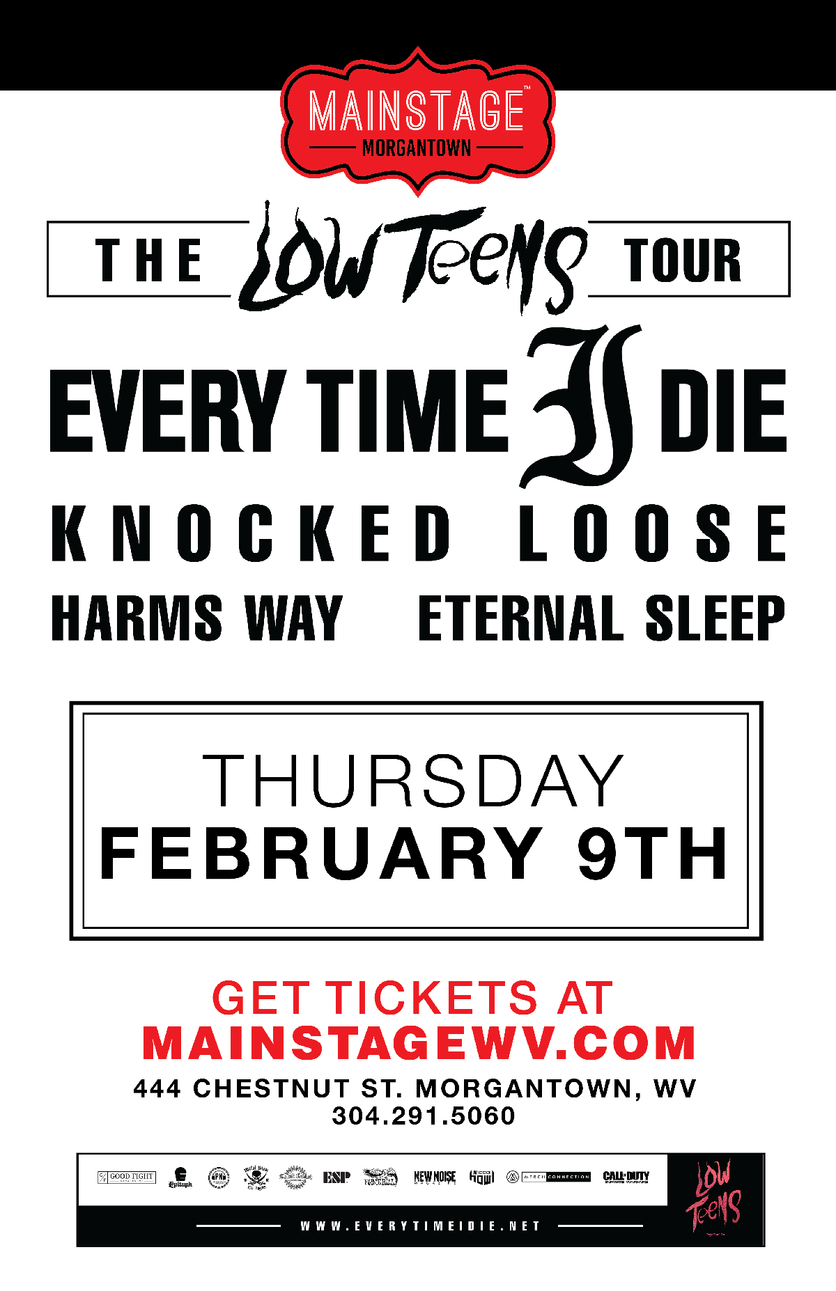every time i die plus knocked loose harm 39 s way eternal sleep mainstage morgantown. Black Bedroom Furniture Sets. Home Design Ideas