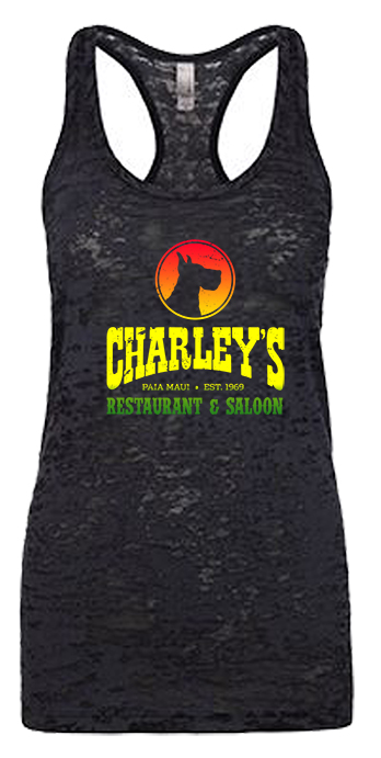Women's Burnout Tank - Black with rasta logo