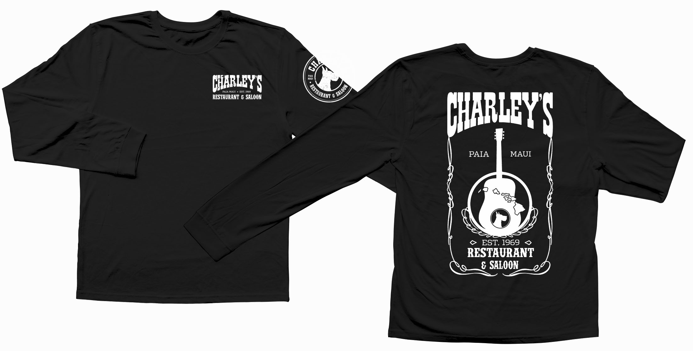 Men's Long Sleeve - Black with White guitar Logo