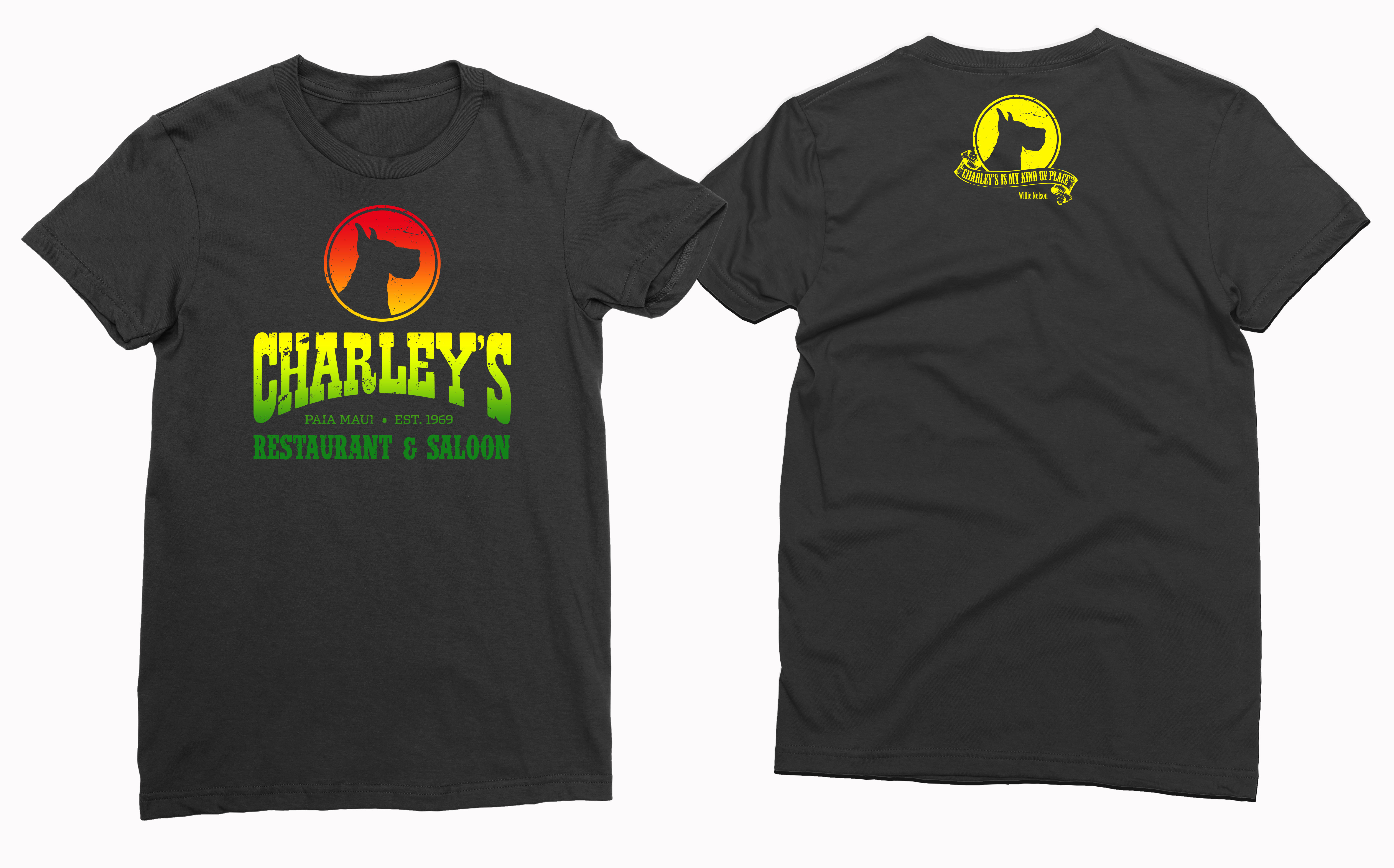 Women's BabyT - Black with rasta logo