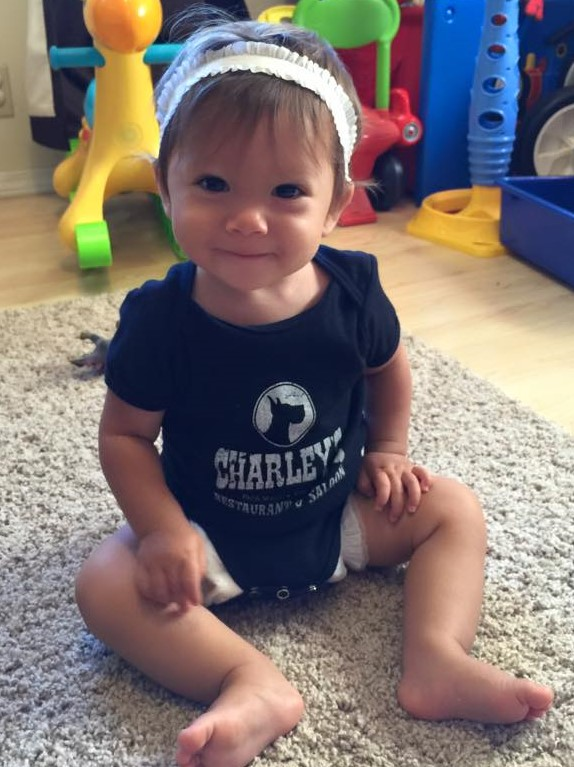 Charley's Baby Onesie - Black with white logo