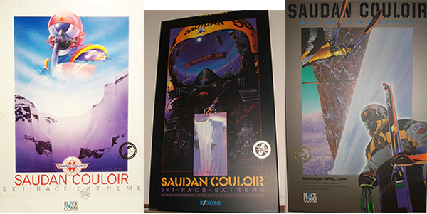 The original saudan couloir ski race extreme posters with their ominous fighter pilot character the evocative feeling of speed and velocity