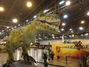 Come face to face with a moving, roaring tyrannosaurus rex!