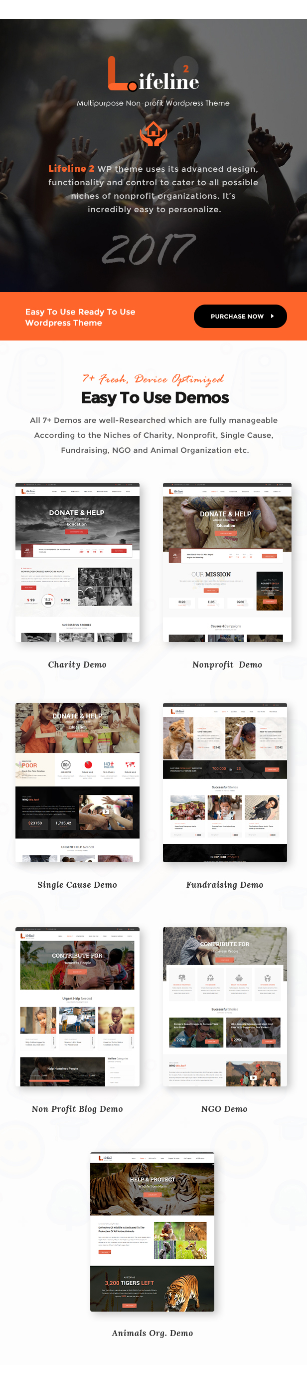 Lifeline 2 - An Ultimate Nonprofit WordPress Theme for Charity, Fundraising and NGO Organizations