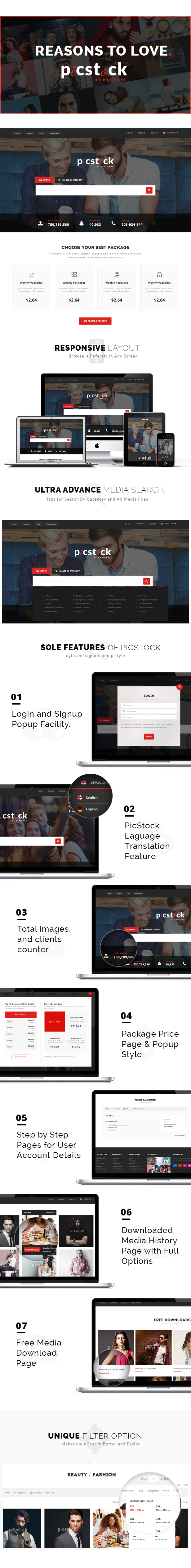 PicStock- Ultra Advanced Stock Media HTML Template by webinaneHTML