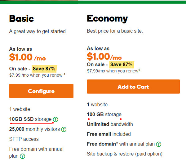 godaddy-packages-comparison