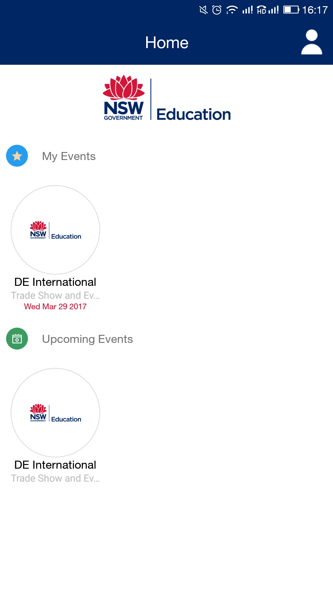 DE International Multi Event App | webMOBI | NSW