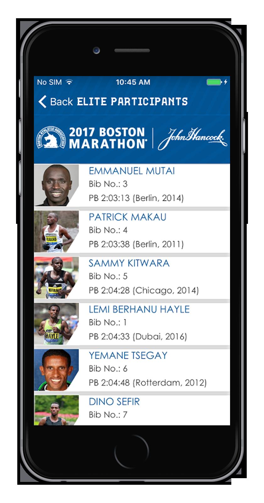 Boston Marathon App -llite Participants