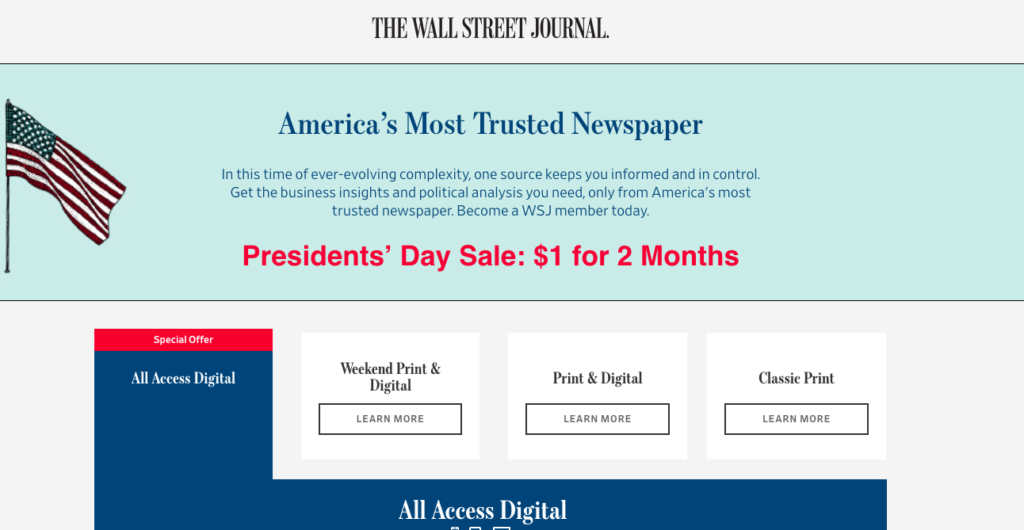 WSJ Subscription Sign-Up Pages