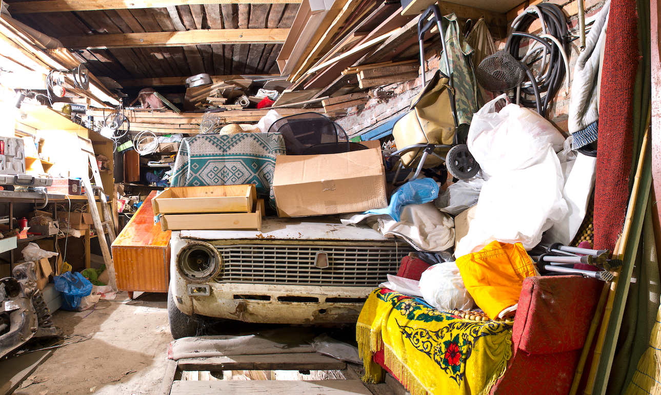 a garage full of clutter