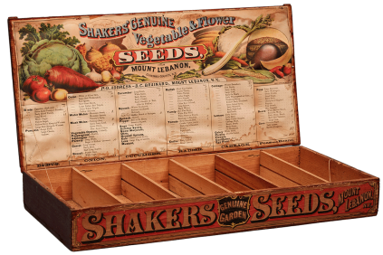 Container, Shipping - Garden seed box with labels on front and lid, Mount Lebanon, NY