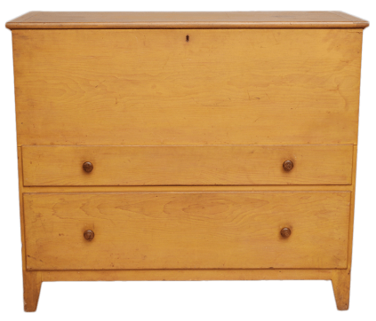 1958.10625.1 - Chest, Blanket - Two-drawer pine blanket chest painted yellow, Mount Lebanon, NY
