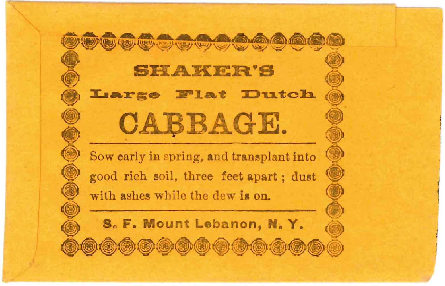 Shaker's Large Flat Dutch Cabbage Seed Bag, Second Family, Mount Lebanon, NY, ca. 1860s, Shaker Museum | Mount Lebanon: 1957.9348.1.
