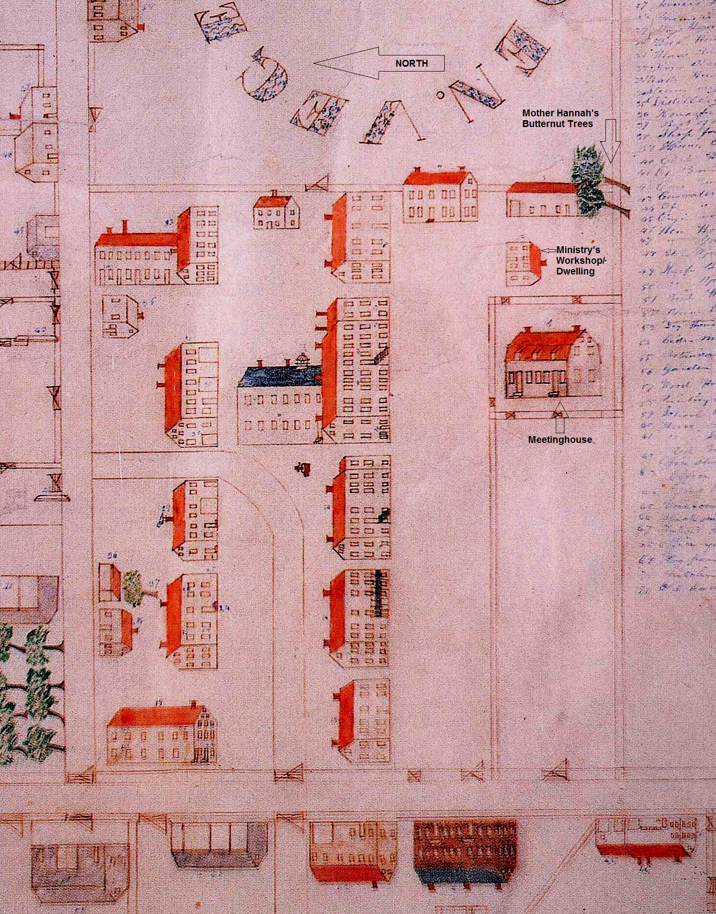 """Plan of Canterbury by Henry Blinn 1848,"" Church Family, Canterbury, NH, 1848, Collection of Canterbury Shaker Village. From, Shaker Life, Art, and Architecture bu Scott T. Swank (1999), p. 95."