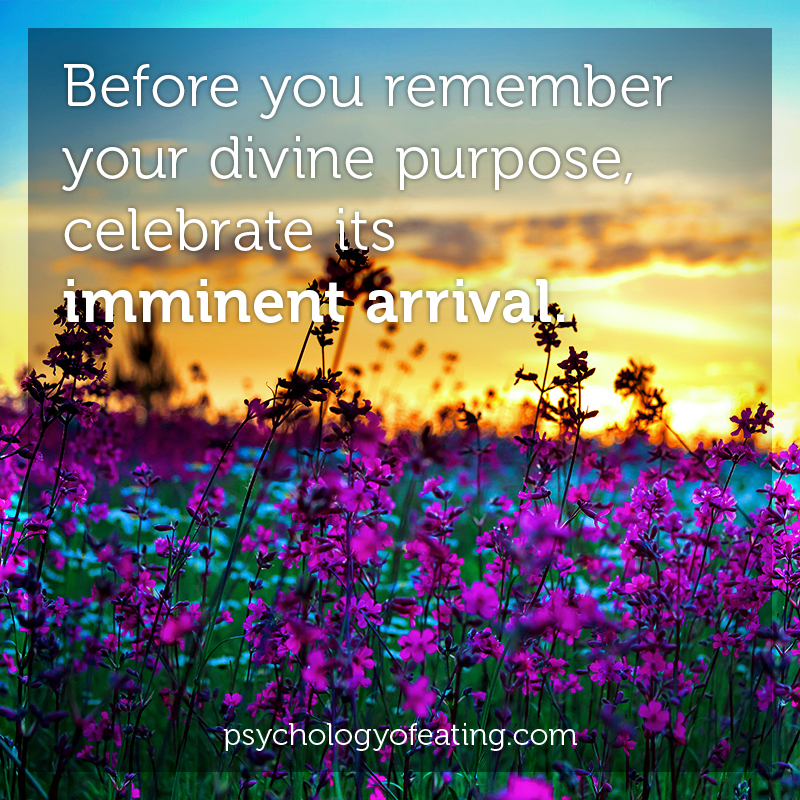 Before you remember your divine purpose, celebrate its imminent arrival #health #nutrition #eatingpsychology #IPE