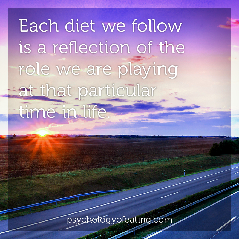 Each diet we follow is a reflection of the role we are playing at that particular time in life #health #nutrition #eatingpsychology #IPE