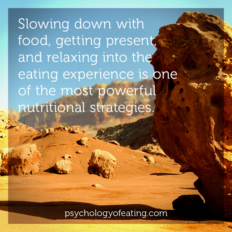 Slowing down with food, getting present, and relaxing into the eating experience is one of the most powerful nutritional strategies. #health #nutrition #eatingpsychology #IPE