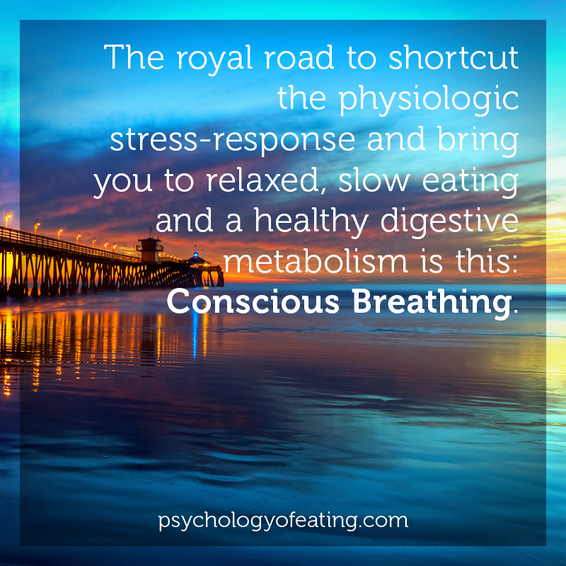 The royal road to shortcut the physiologic stress-response and bring you to relaxed, slow eating and a healthy digestive metabolism is this- Conscious Breathing.  #health #nutrition #eatingpsychology #IPE