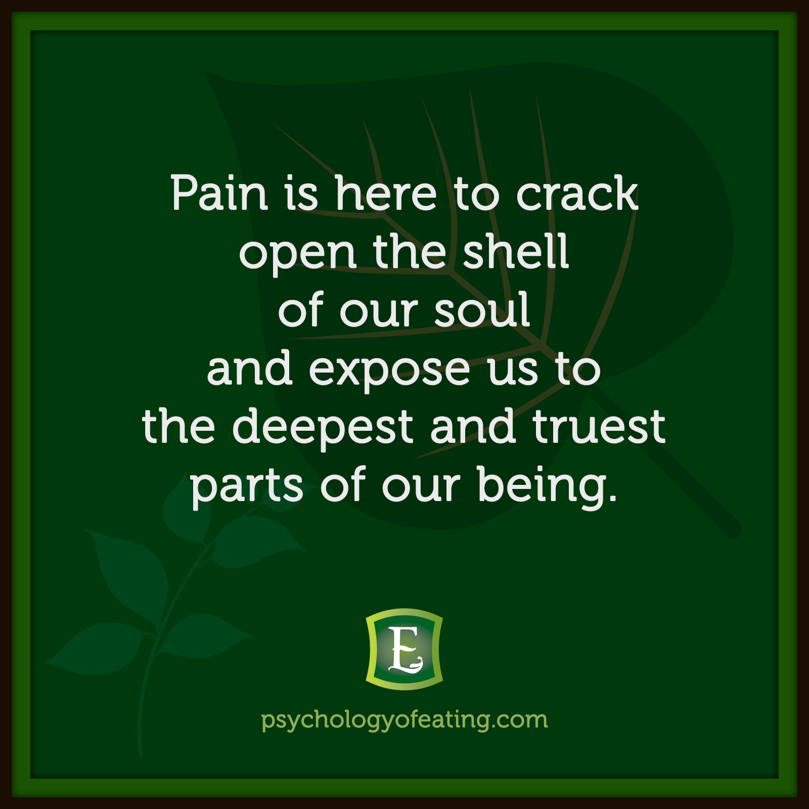 Pain is here to crack open the shell of our soul and expose us to the deepest and truest parts of our being.  #health #nutrition #eatingpsychology #IPE