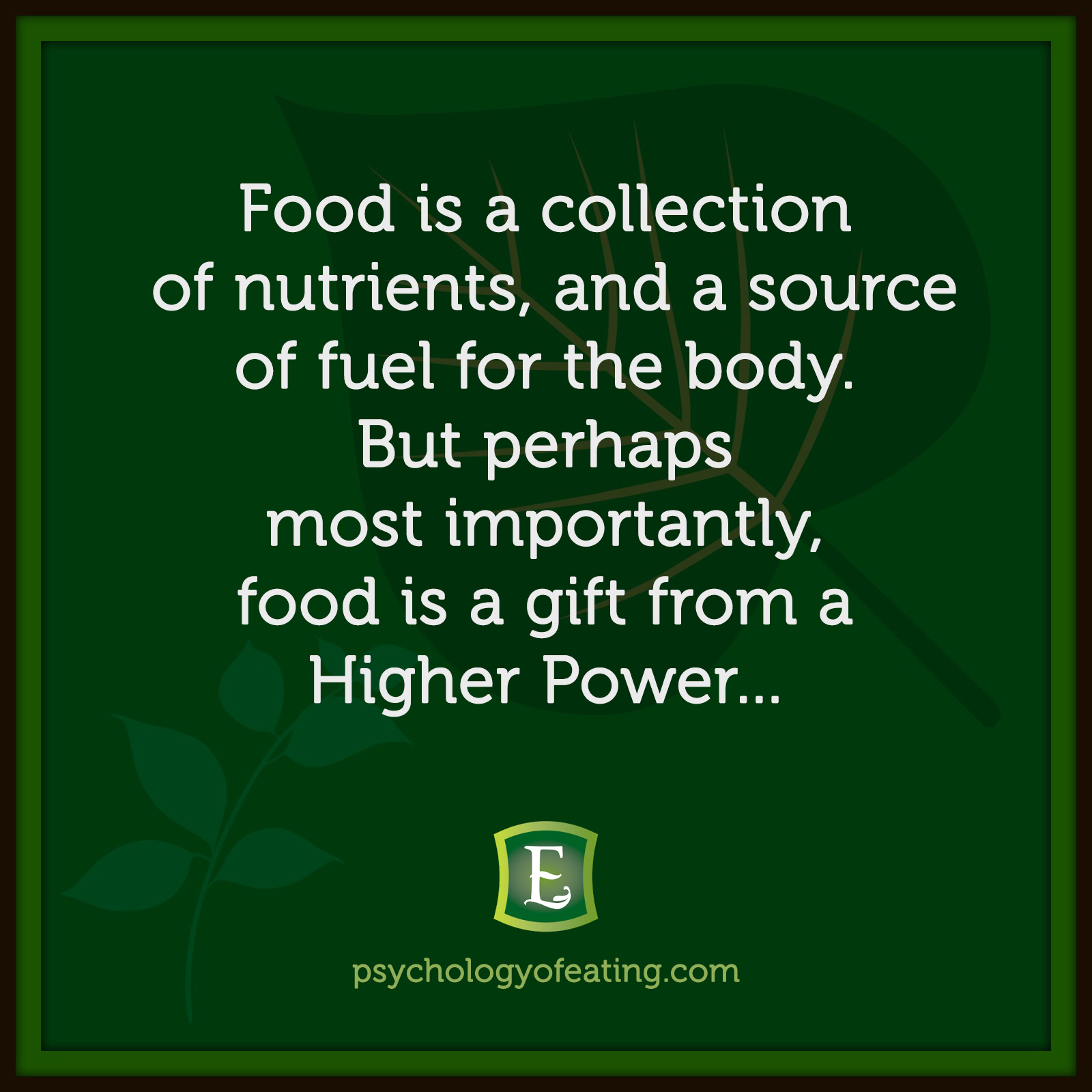 Food is a collection of nutrients, and a source of fuel for the body. But perhaps most importantly, food is a gift from a Higher Power…   Marc David #health #nutrition #eatingpsychology #IPE