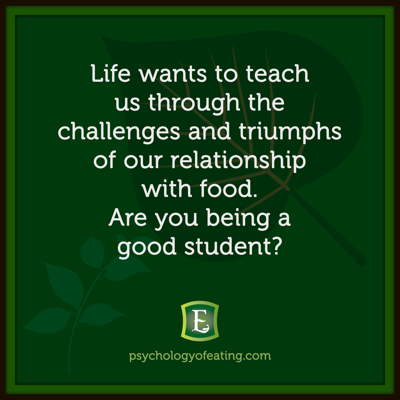 Life wants to teach us through the challenges and triumphs of our relationship with food. Are you being a good student? #health #nutrition #eatingpsychology #IPE