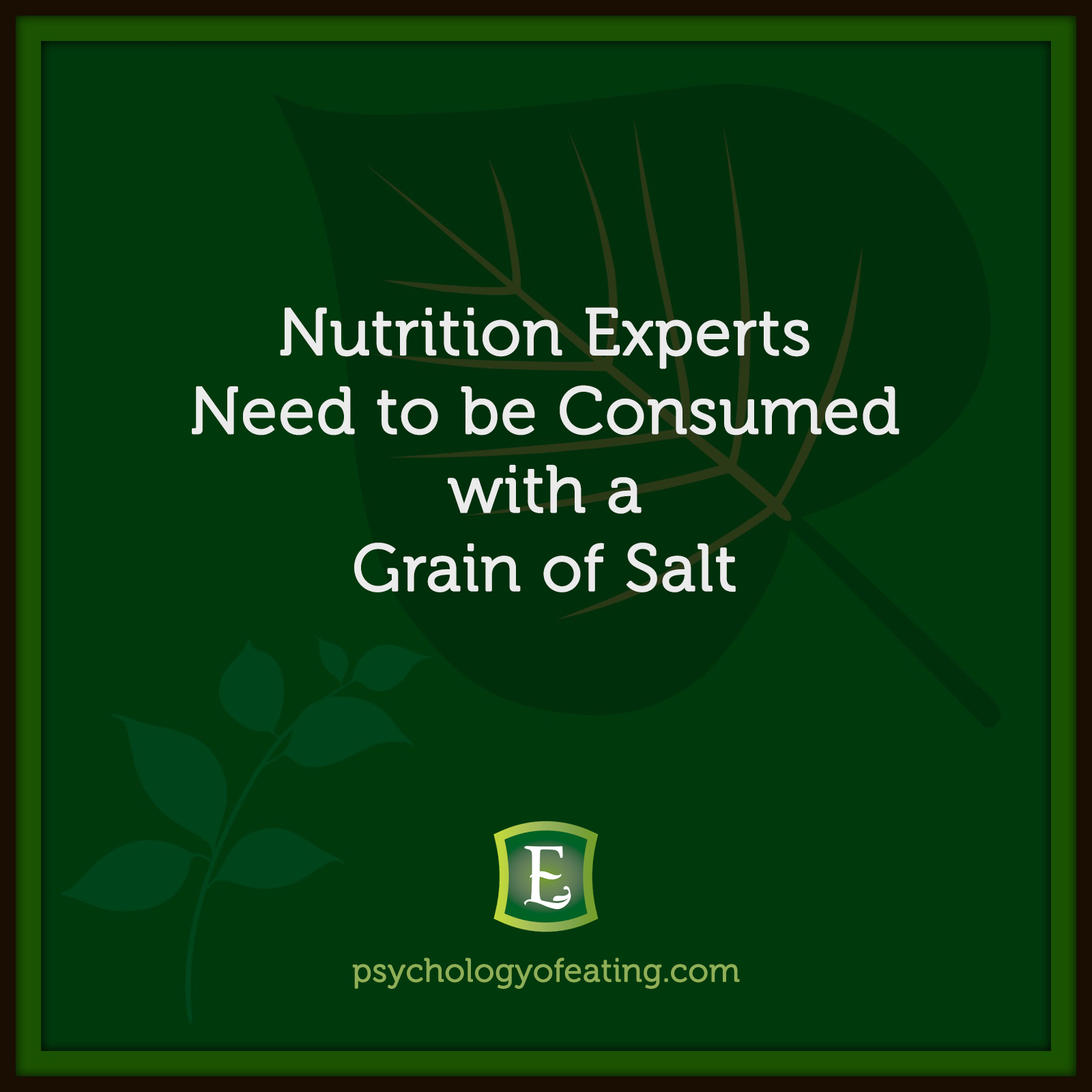 Nutrition Experts Need to be Consumed with a Grain of Salt  #health #nutrition #eatingpsychology #IPE