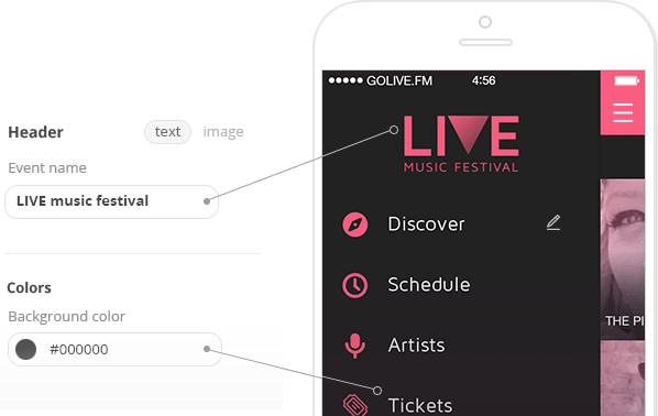Build your own music festival apps with Golive fm