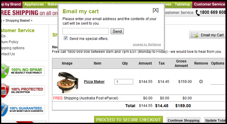 email my shopping cart feature