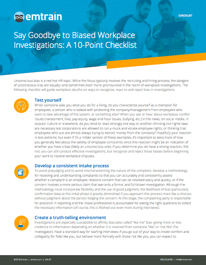 Unconscious Bias in Workplace Investigations Checklist | EMTRAIN