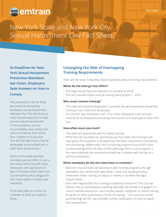 New York State and New York City Sexual Harassment Law Fact Sheet | EMTRAIN