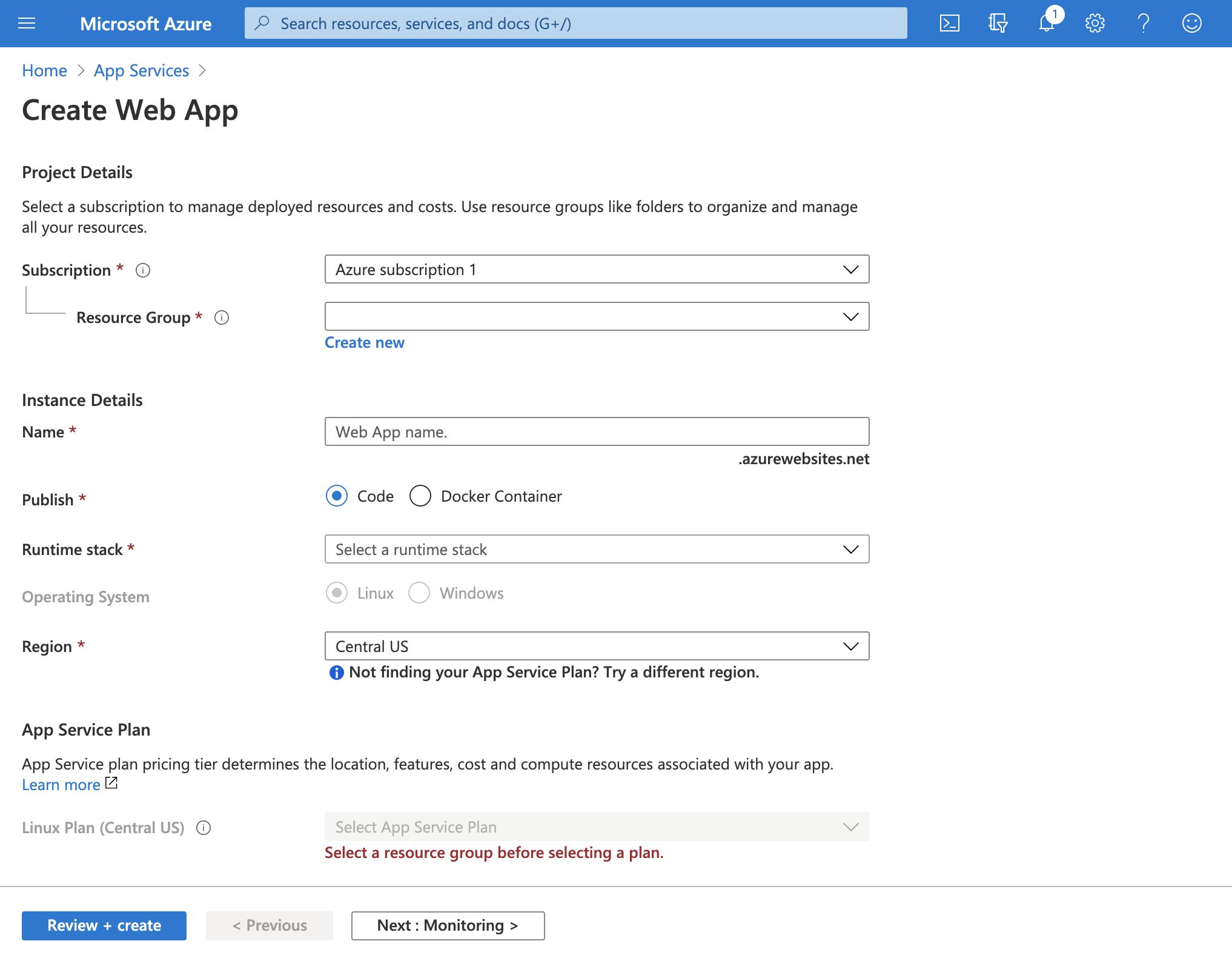 Create Azure Service Web App