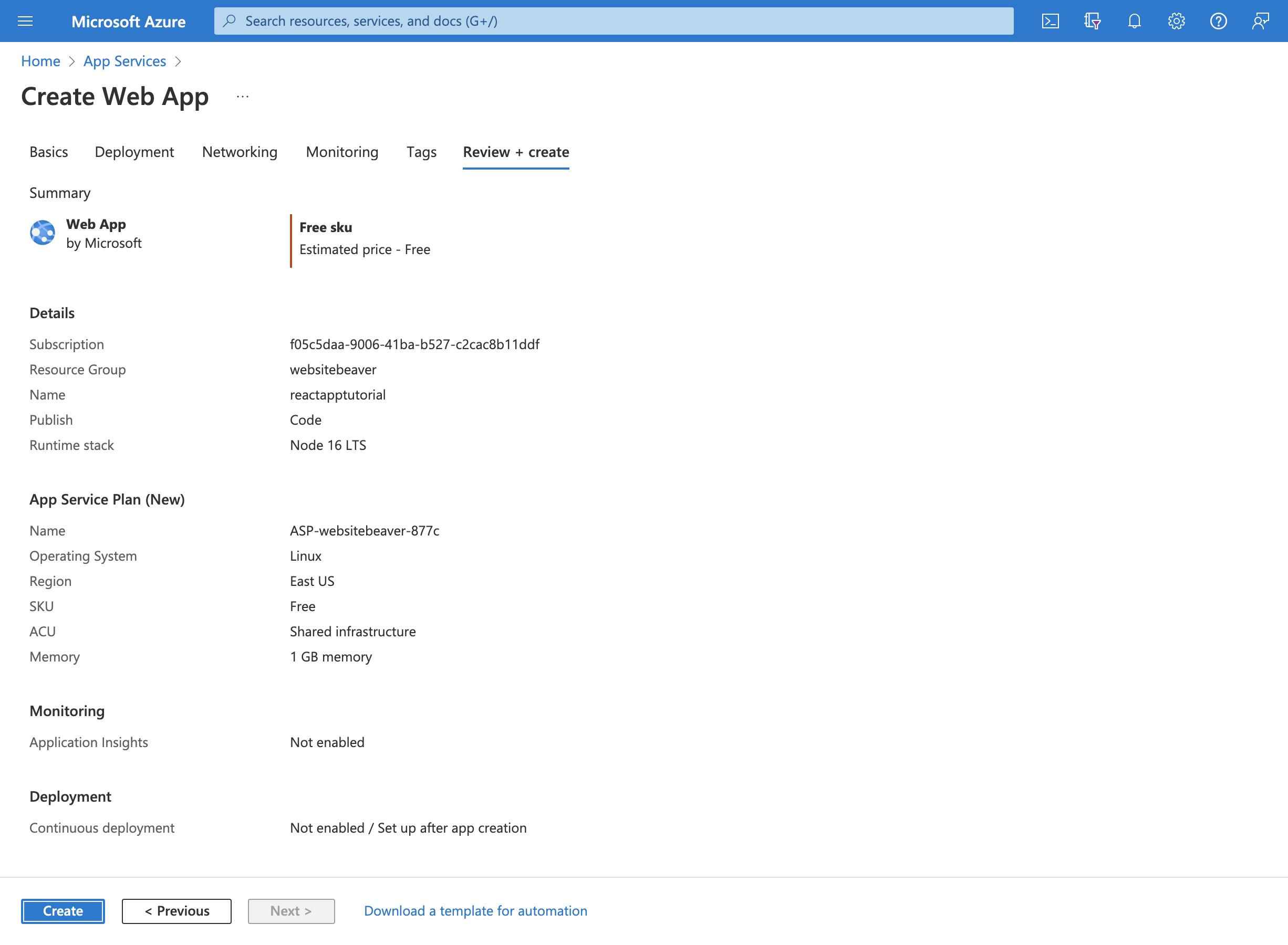 Azure Services Web App Review Page