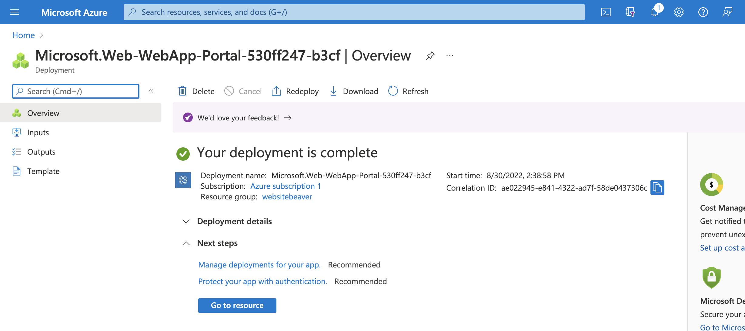 Azure Services Deployment Complete