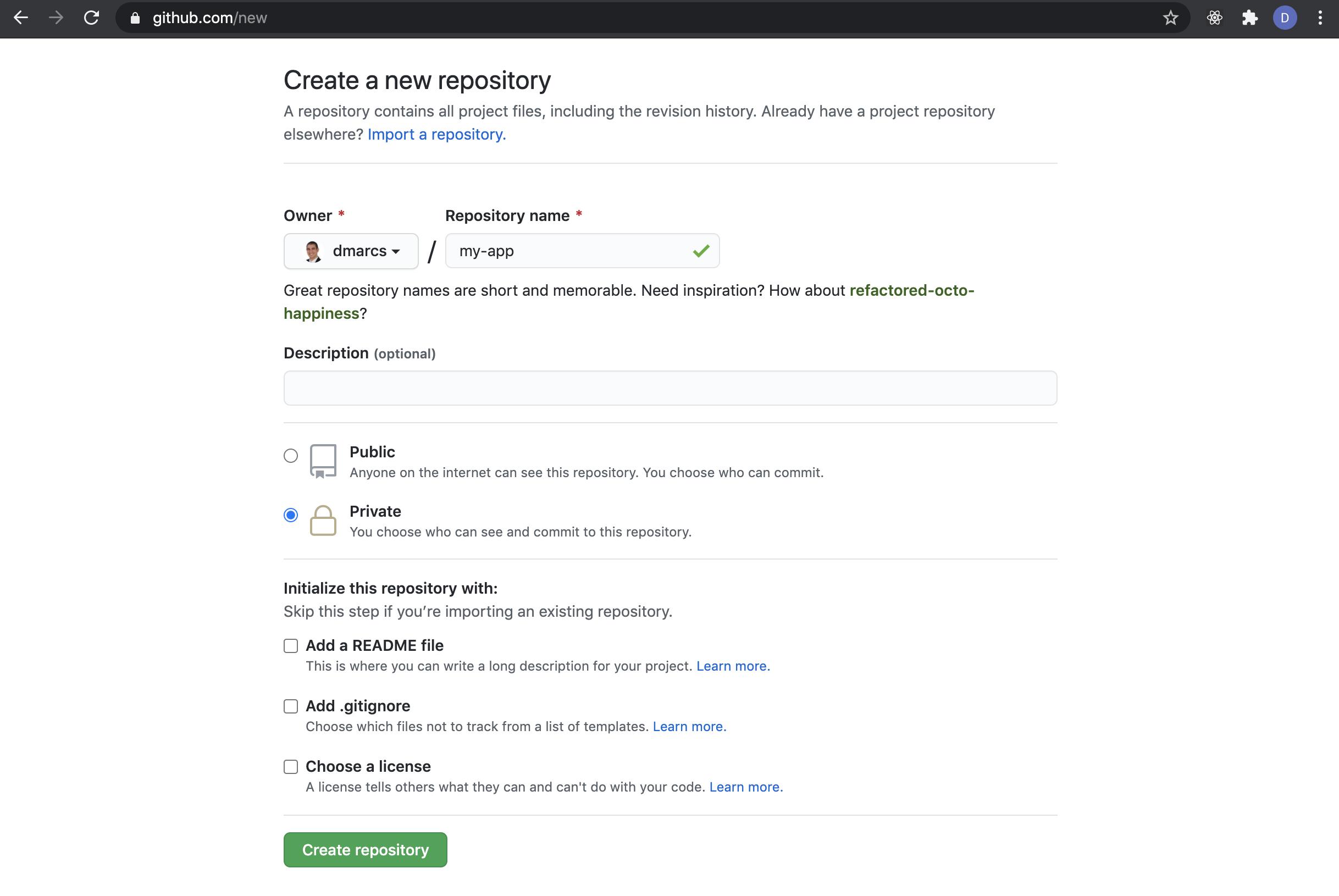 Create a new Github Repo