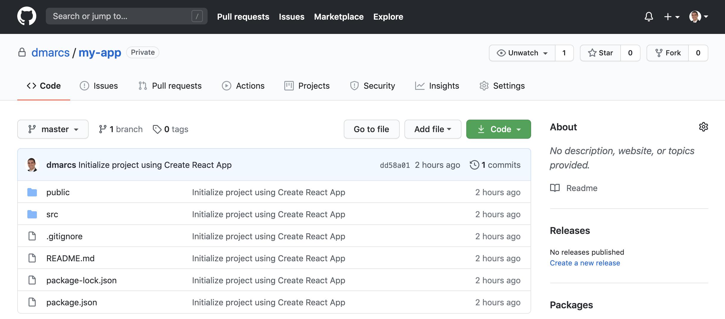 Create React App Code in Github