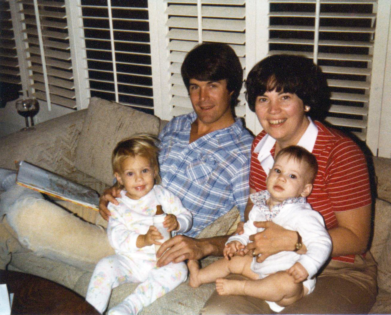 November 1981 - Casey holding Brittany (21 months) and Donna is holding Julie (8 months)