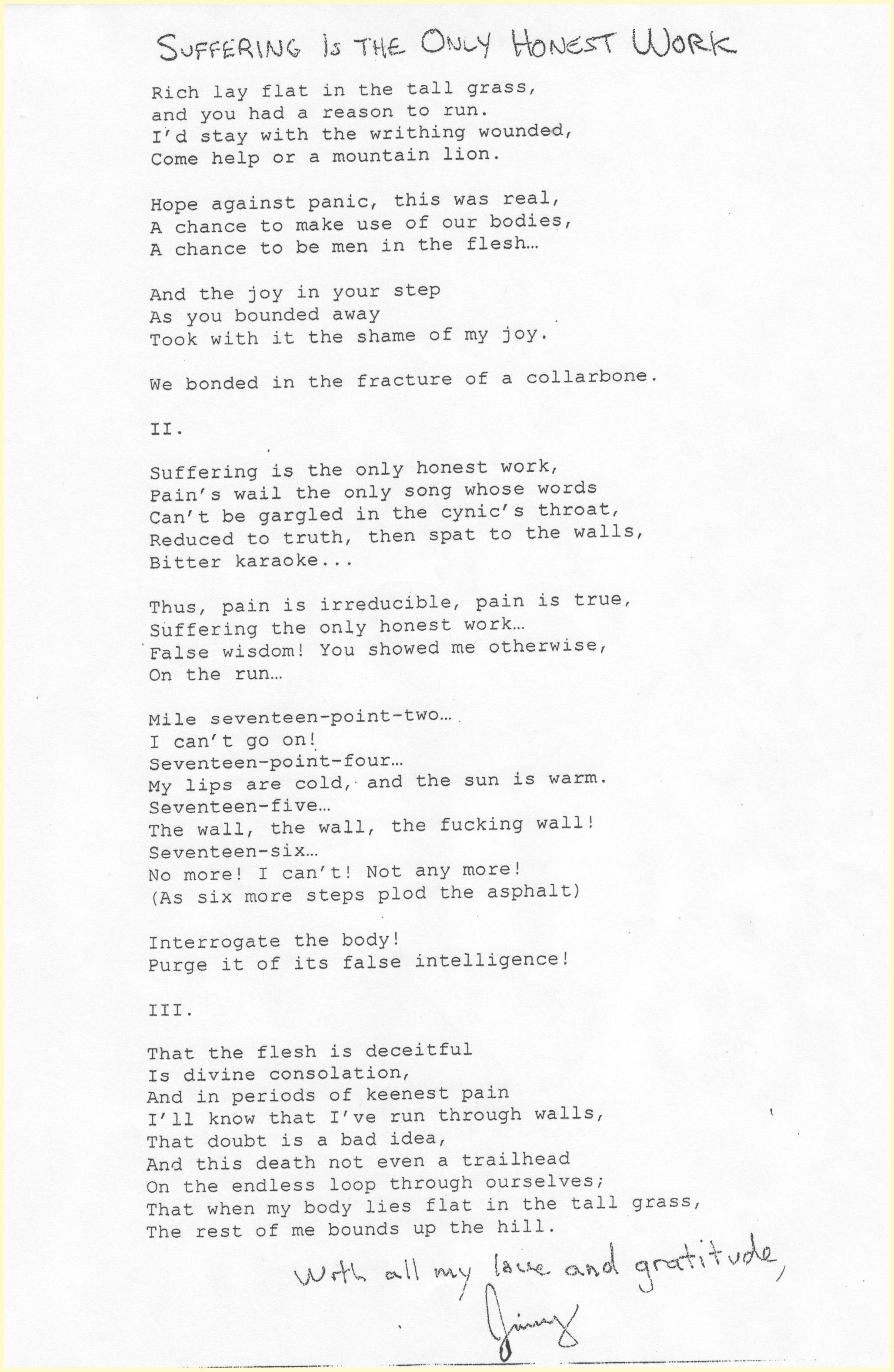 Original poem given by Jimmy to Tom Strickler