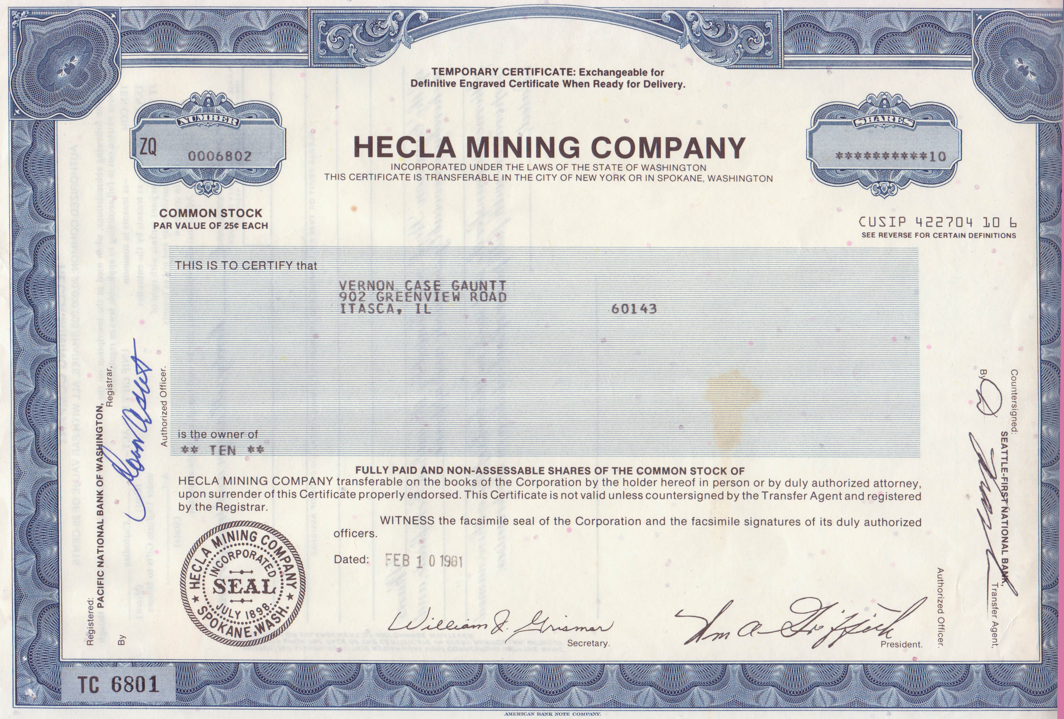 ten shares of Hecla Mining Company