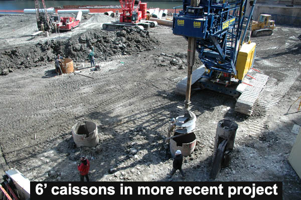 caissons were ten feet in diameter and over a hundred feet deep