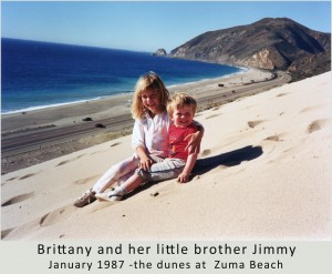 Brittany and Jimmy in 1987 on the dunes at Zuma Beach