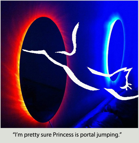 I'm pretty sure Princess is portal jumping.