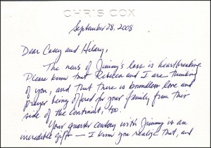 Condolensces from Chris and Rebecca Cox