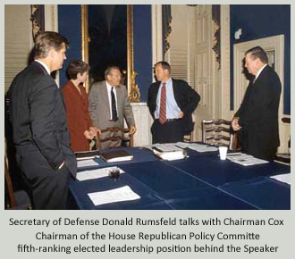 Secretary of Defense Donald Rumsfeld meets with Members of the Policy Committee - From Left to Right: Todd Tiahrt from Kansas, Heather Wilson from New Mexico (Chair of the National Security and Foreign Affairs Subcommittee), Secretary Rumsfeld, Chairman Cox, and Randy Cunningham from California.