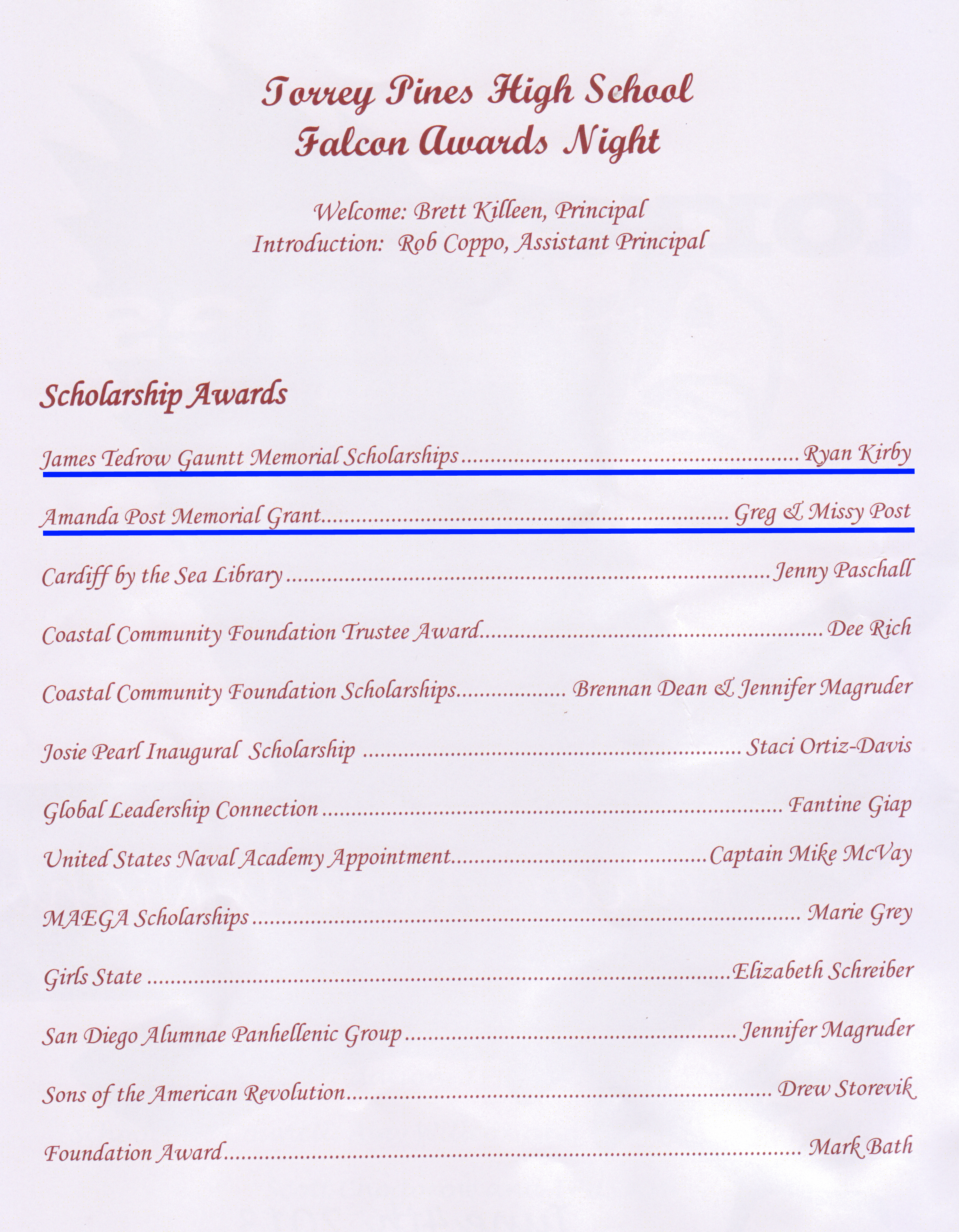 Torrey Pines High School Foundation Awards Program