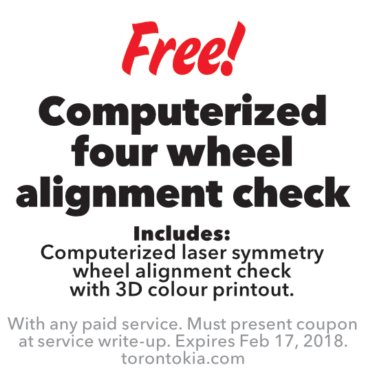 Computerized four wheel alignment check