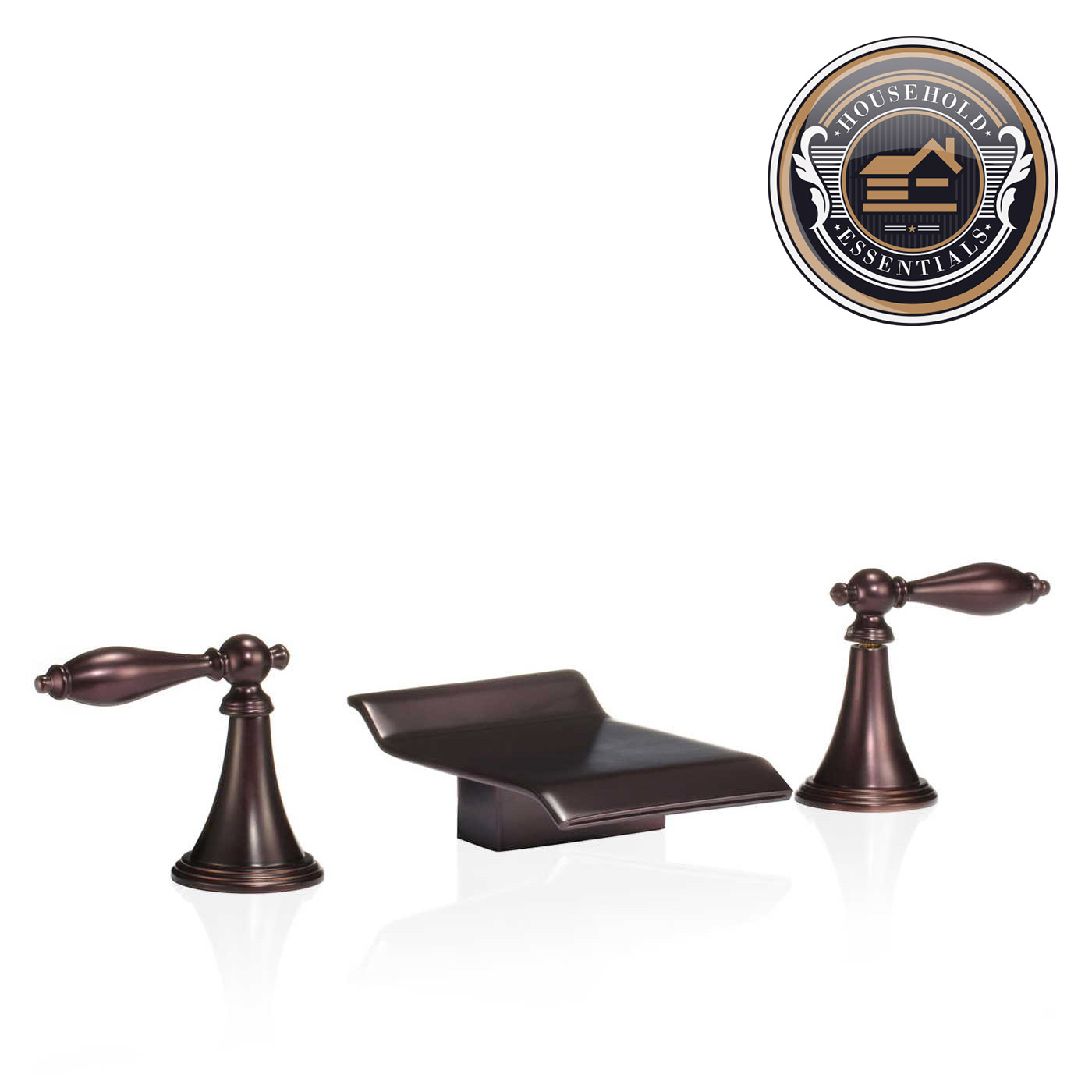 Oil Rubbed Bronze Widespread Bathroom Sink Roman Tub Waterfall ...