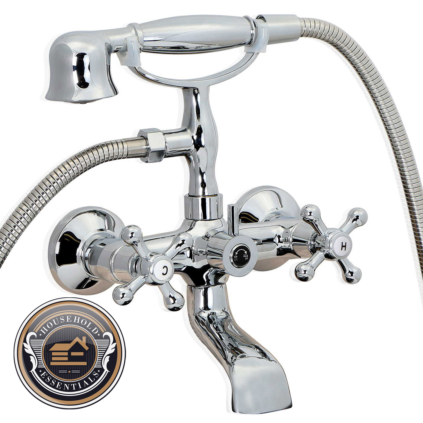 Open Box Chrome Clawfoot Bath Tub Faucet With Handshower Wall Mount Ebay
