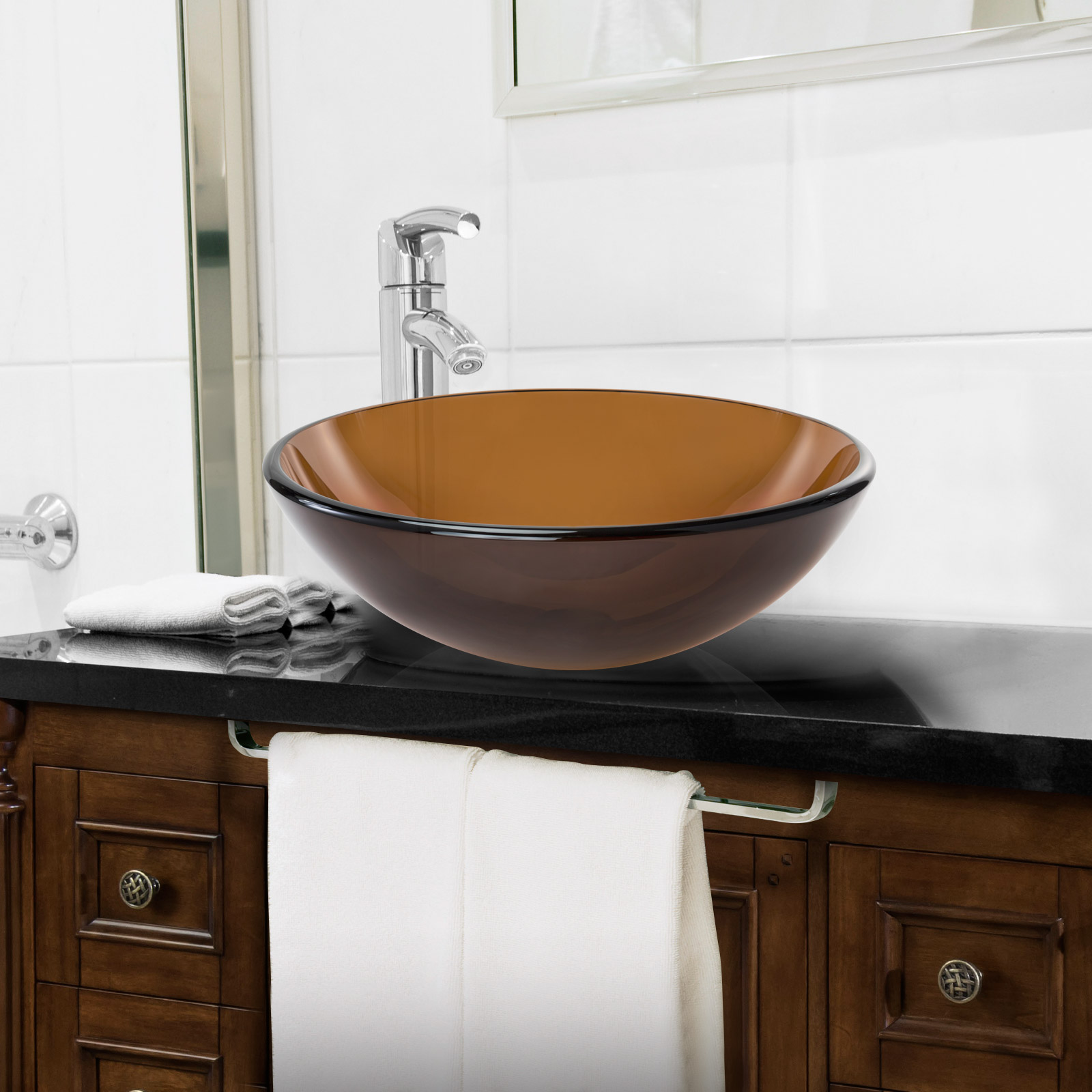 Tempered glass round vessel vanity bathroom sink ebay - Bathroom vanities with vessel sinks ...